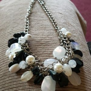 Black and white bauble necklace